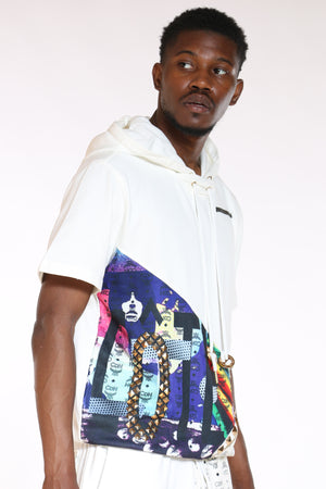 Men's Cut & Sow French Terry Hooded Tee - White