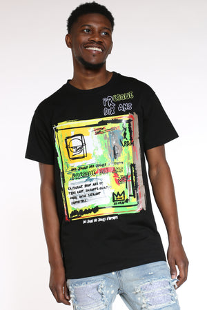 Men's Abstract Art Tee - Black-VIM.COM
