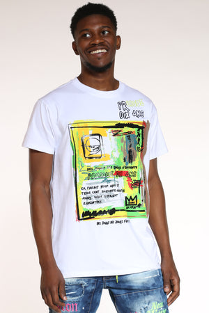 Men's Abstract Art Tee - White-VIM.COM