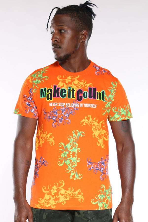 Men's Make It Count Colorful Tee - Orange-VIM.COM