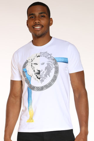 Men's Lion Rhinestone Circle Tee - White-VIM.COM