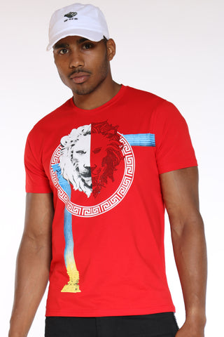 Men's Lion Rhinestone Circle Tee - Red-VIM.COM