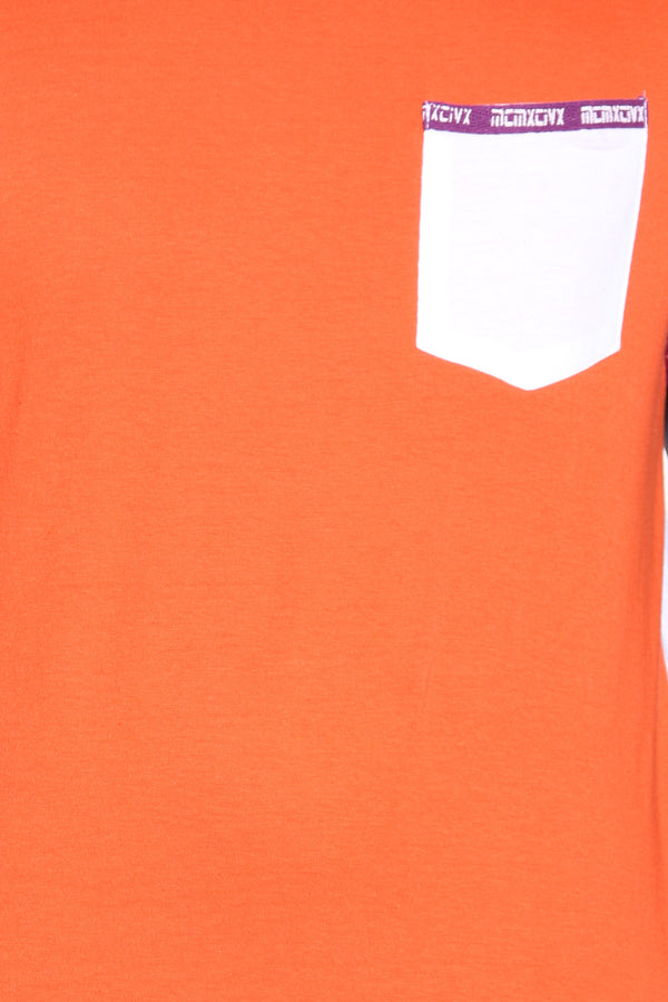 Men's Color Block Pocket Tee - Red Flame