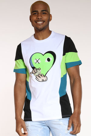 Men's Heart Chenille Patch Tee - Green-VIM.COM