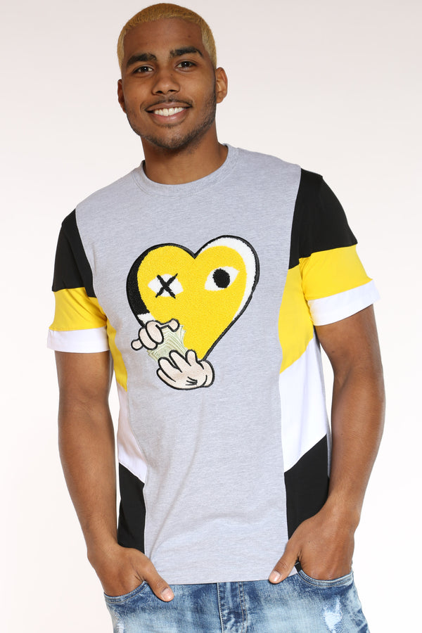 Men's Heart Chenille Patch Tee - Yellow-VIM.COM