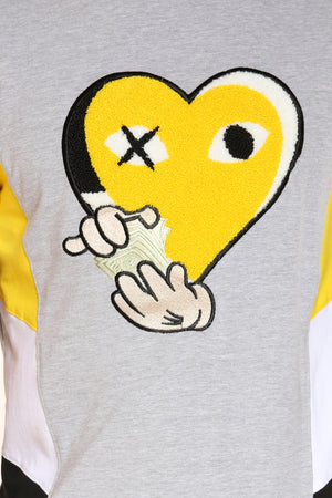 Men's Heart Chenille Patch Tee - Yellow