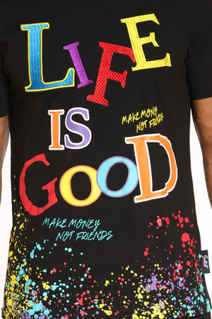 Men's Life Is Good Colorful Tee - Black