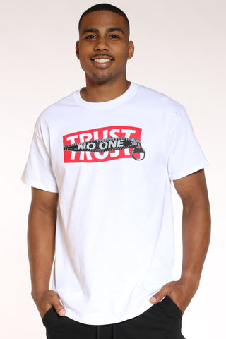 Men's Trust No One Zip Box Logo Tee - White-VIM.COM