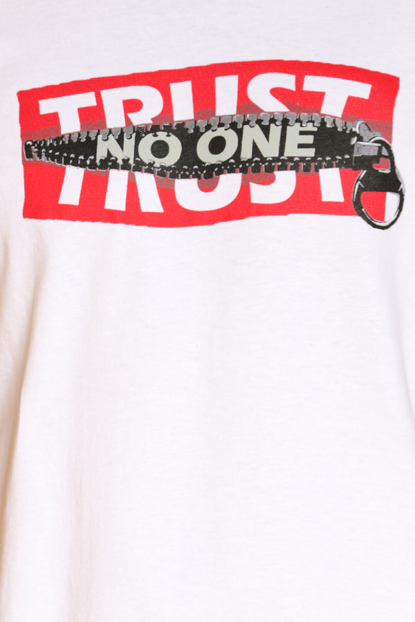 Men's Trust No One Zip Box Logo Tee - White