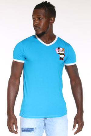 Men's Panda Glasses V Neck Tee - Turquoise-VIM.COM