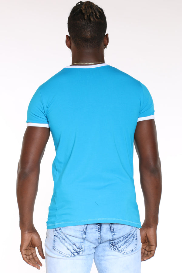 Men's Panda Glasses V Neck Tee - Turquoise
