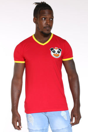 Men's Panda Gold Teeth V Neck Tee - Red-VIM.COM