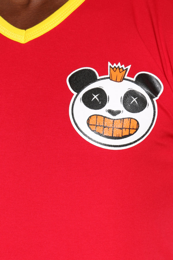 Men's Panda Gold Teeth V Neck Tee - Red