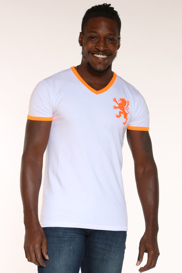 Men's Lion V Neck Tee - White-VIM.COM