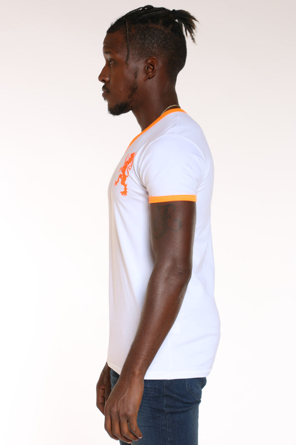 Men's Lion V Neck Tee - White