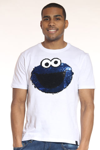 Men's Cookie Monster Sequins Tee - White-VIM.COM