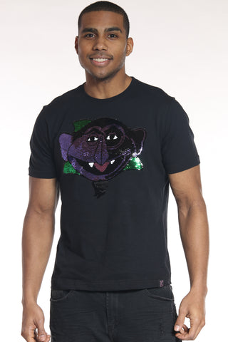Men's Count Von Count Sequins Tee - Black-VIM.COM