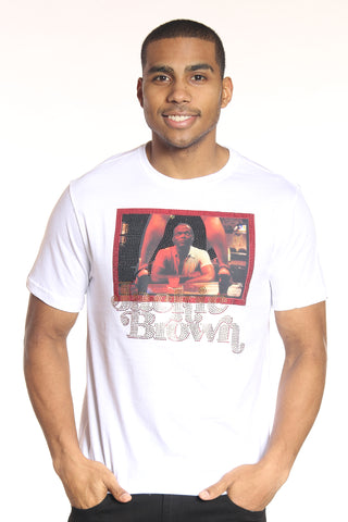 Men's Jackie Brown Rhinestone Tee - White-VIM.COM