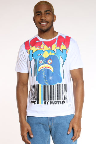 Men's Character Icon Barcode Tee - White-VIM.COM