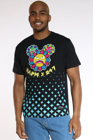 Men's Angry Sunflower Tee - Black-VIM.COM