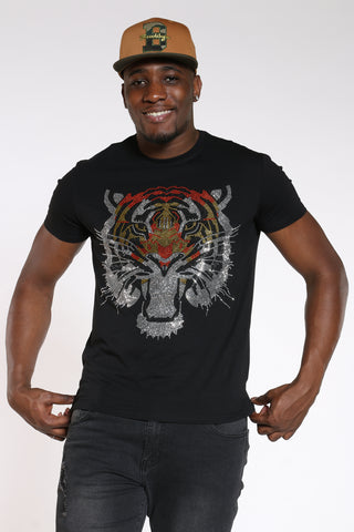 Men's Big Tiger Rhinestone Tee - Black-VIM.COM