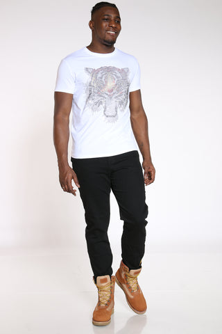 Men's Big Tiger Rhinestone Tee - White-VIM.COM