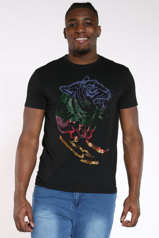 Men's Lion Head Colorful Rhinestone Tee - Black-VIM.COM