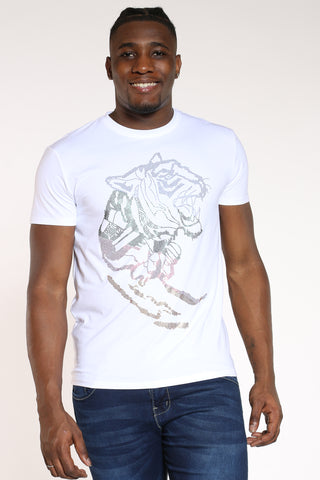 Men's Lion Head Colorful Rhinestone Tee - White-VIM.COM