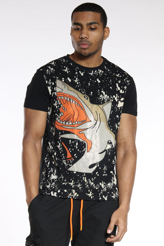 Men's Big Shark Rhinestone Tee - Black-VIM.COM