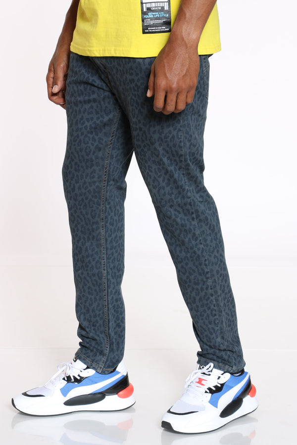Men's Cheetah Taper Jean - Mango