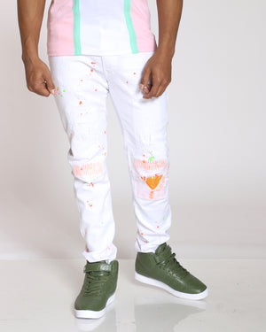 Men's Ralph Ripped & Patches Paint Splatter Jean - White Orange-VIM.COM
