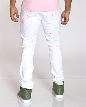 Men's Ralph Ripped & Patches Paint Splatter Jean - White Orange