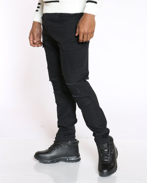 Men's Bruce Ripped & Cargo Pockets Twill Pant - Black