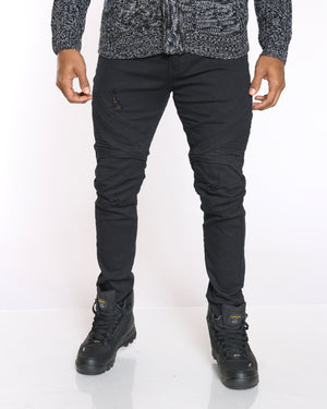 Men's Knee Ripped Side Moto Jean - Black-VIM.COM