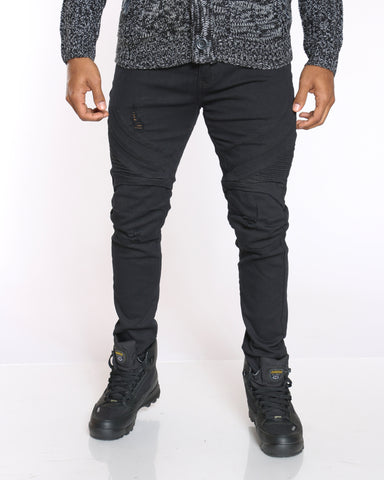 Men's Knee Ripped Side Moto Jean - Black