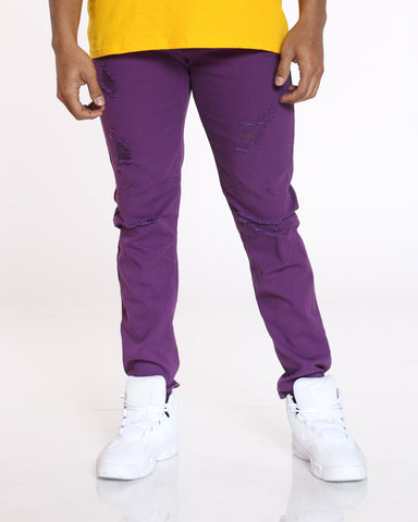 Men's Light Ripped Jean - Purple-VIM.COM