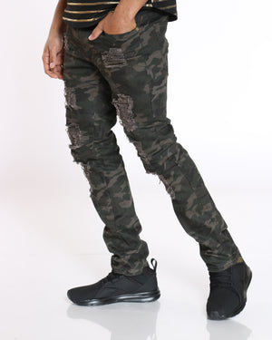 Men's Wayne Camo Ripped Slim Straight Jean - Green-VIM.COM