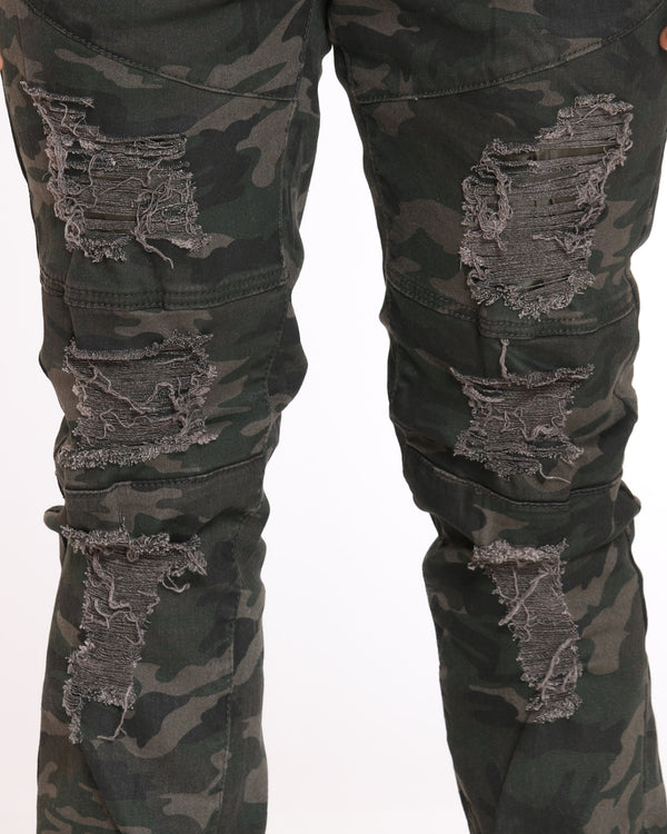 Men's Wayne Camo Ripped Slim Straight Jean - Green