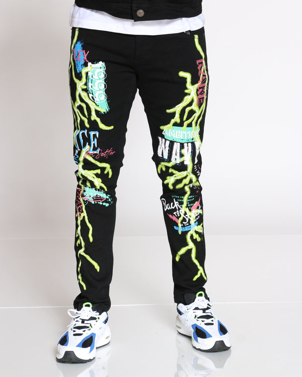 Men's Wave Lightning Jean - Black-VIM.COM