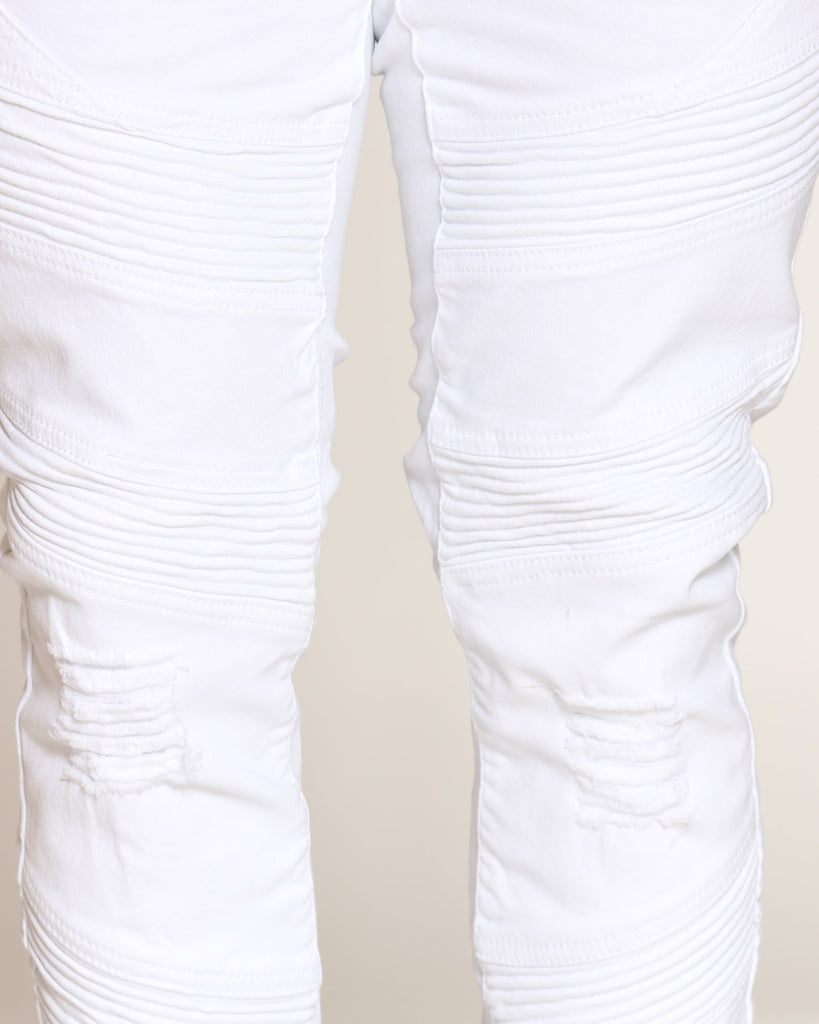 Ripped & Moto Stripes Pant - White