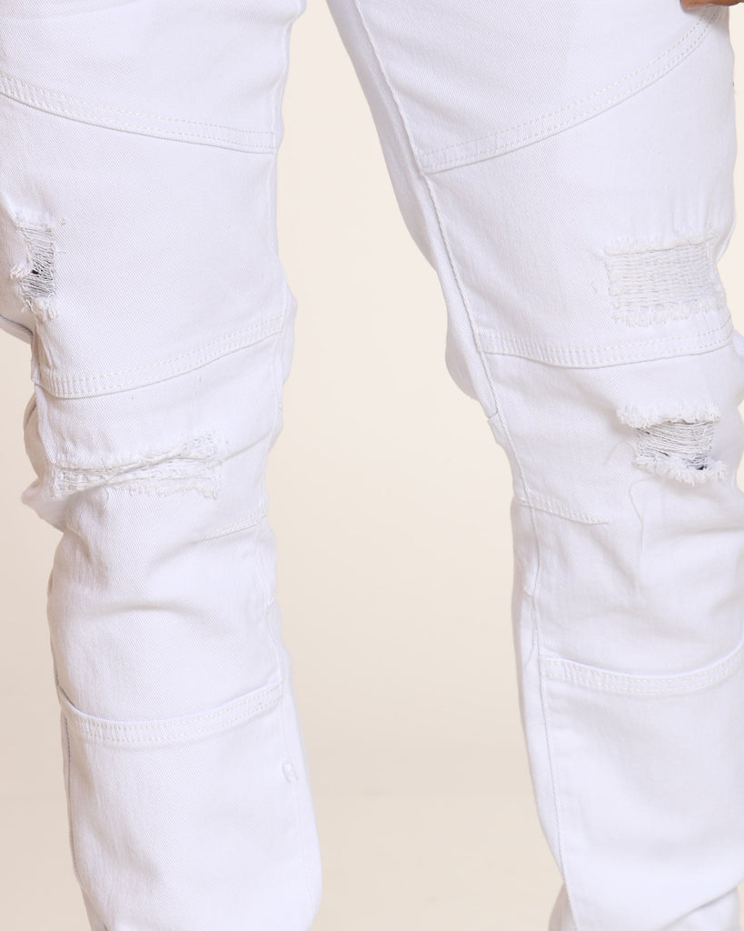 Vernon Twill Ripped & Repair Jean - White