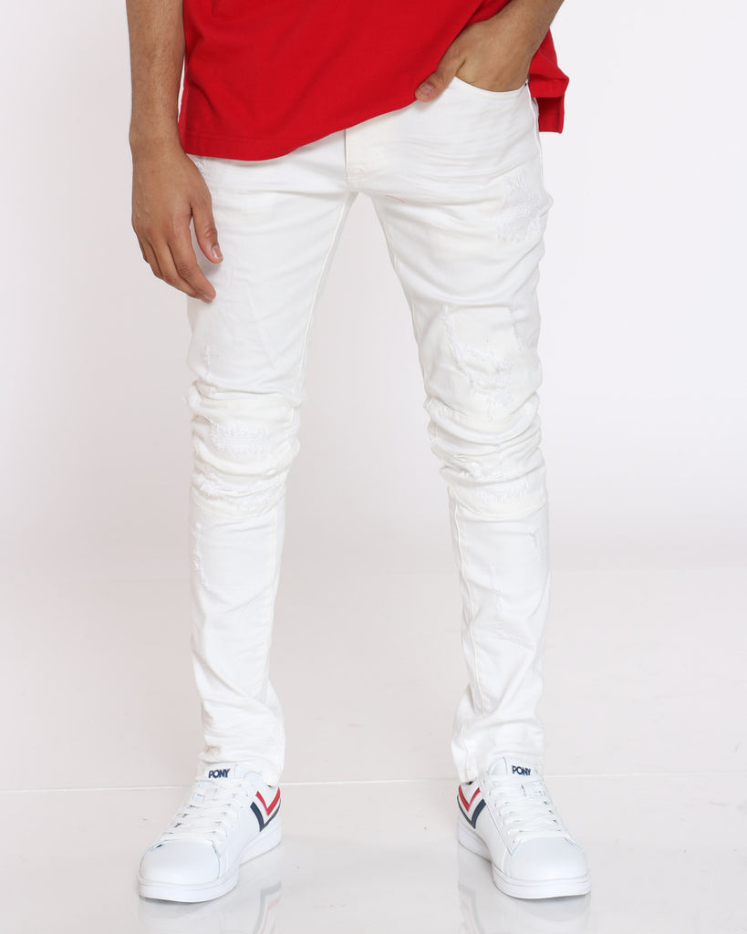 Maxwell Rip & Repair Tapered Jean - White