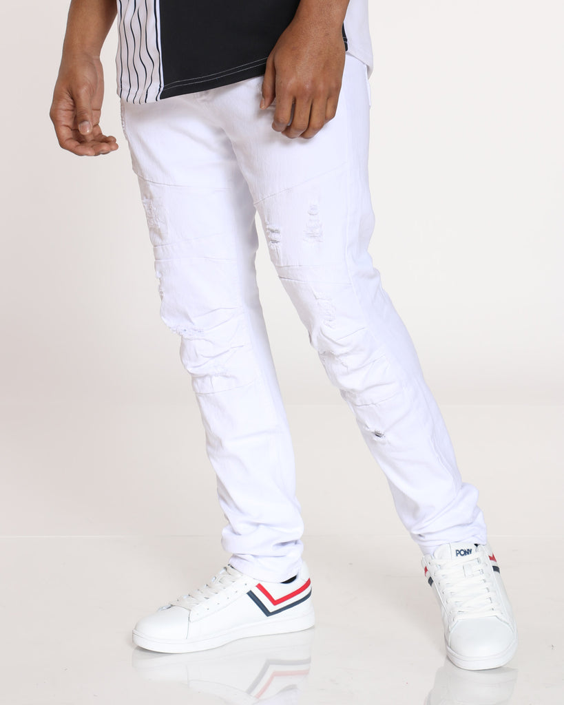 Imran Ripped Muffle Knee Jean - White
