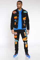 Nick Chenille Patches Jacket - Black