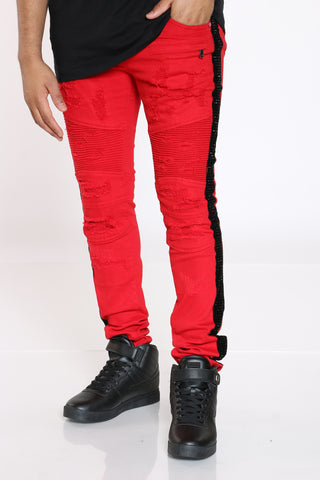 Men's Moto & Ripped Rhinestone Side Taping Jean - Red-VIM.COM