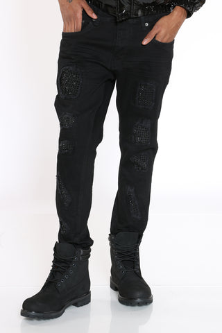 Men's Rhinestones Ripped & Repair Jean - Black-VIM.COM