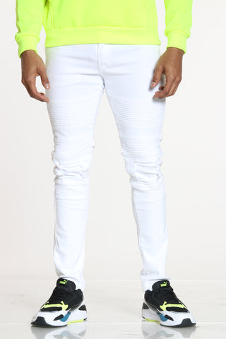 Men's Moto & Knee Ripped Jean - White-VIM.COM