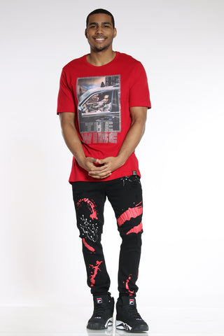 Men's Ripped & Repair Paint Splatter Jean - Black Red-VIM.COM
