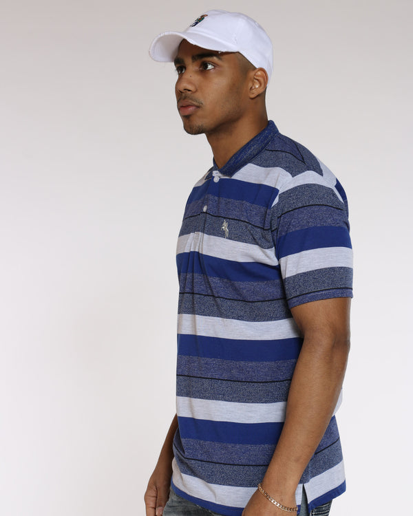 Men's Marty Striped Polo Marled Shirt - Royal