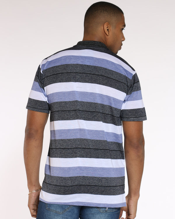 Men's Marty Striped Polo Marled Shirt - Black Blue